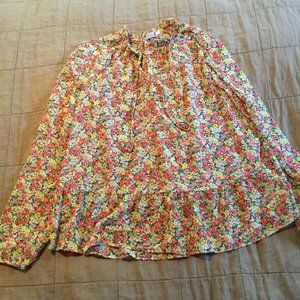 Euc Gap Floral Tie Neck Sheer Blouse Shirt Top L